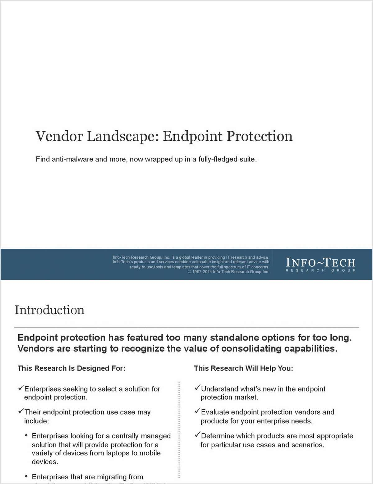 InfoTech Research: The Vendor Landscape for Endpoint Protection