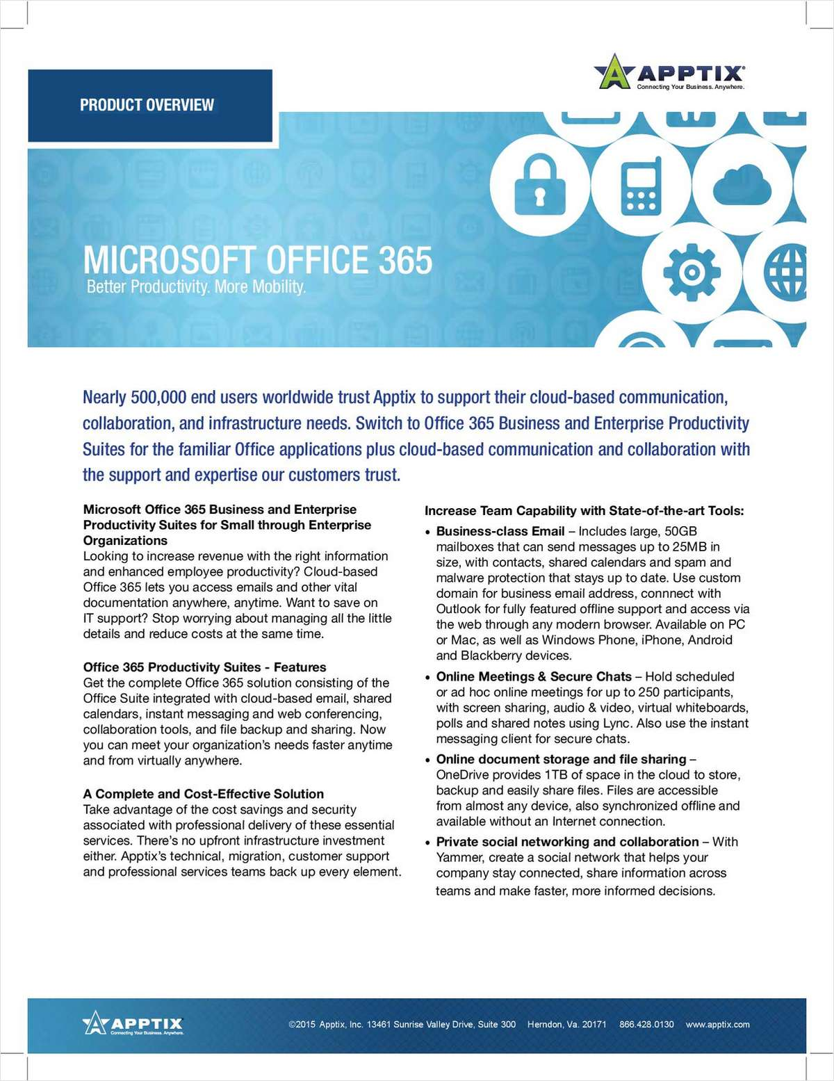 Microsoft Office 365 Business and Enterprise Productivity Suites for Small through Enterprise Organizations
