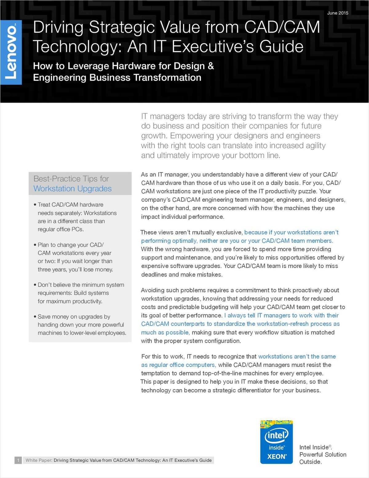 Driving Strategic Value from CAD/CAM Technology: An IT Executive's Guide