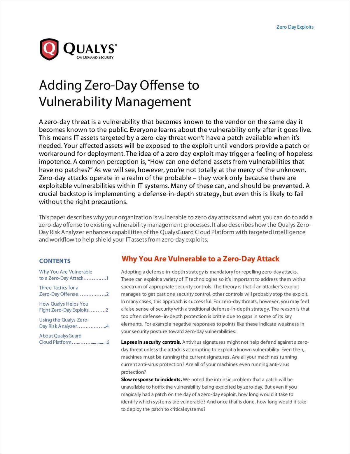 Adding Zero-Day Offense to Vulnerability Management