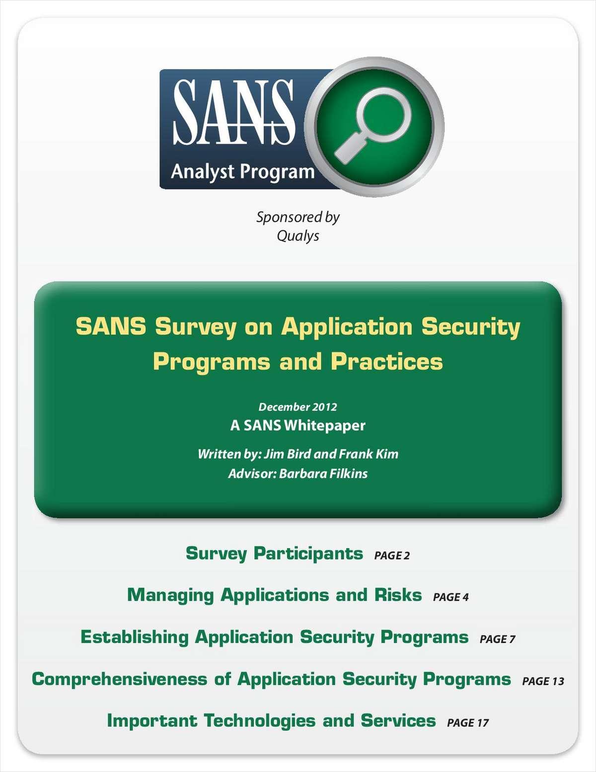 SANS Survey on Application Security Policies in Enterprises