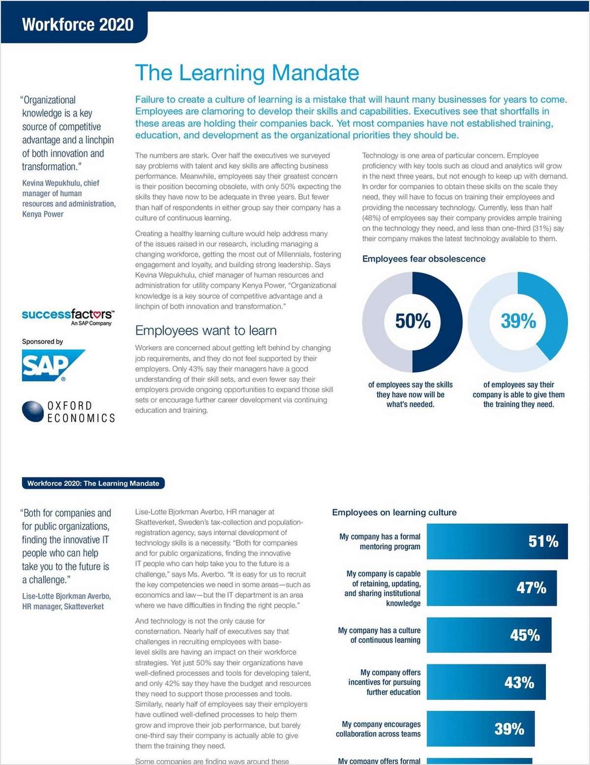 Workforce 2020 Think Piece 4 – Bridging the Skills Gap: The Learning Mandate
