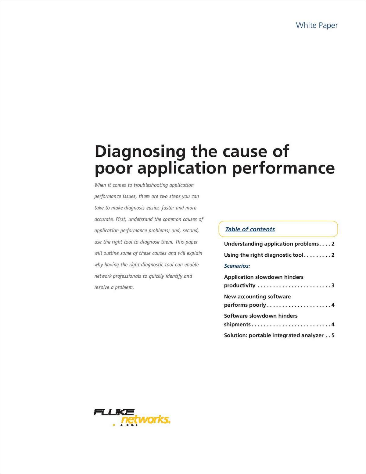 Diagnosing the cause of poor application performance request your free white paper