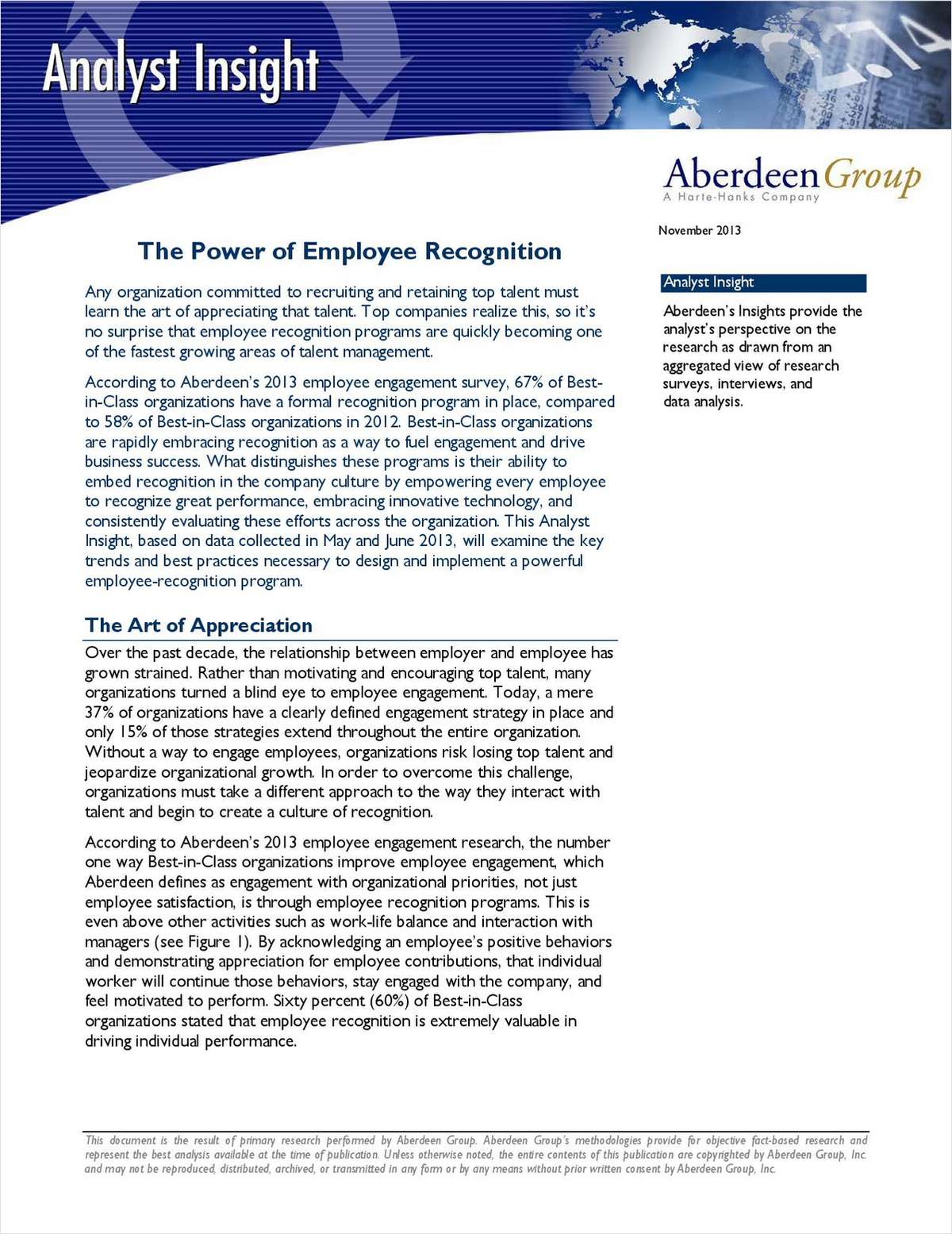 Aberdeen Analyst Insight: The Power of Employee Recognition