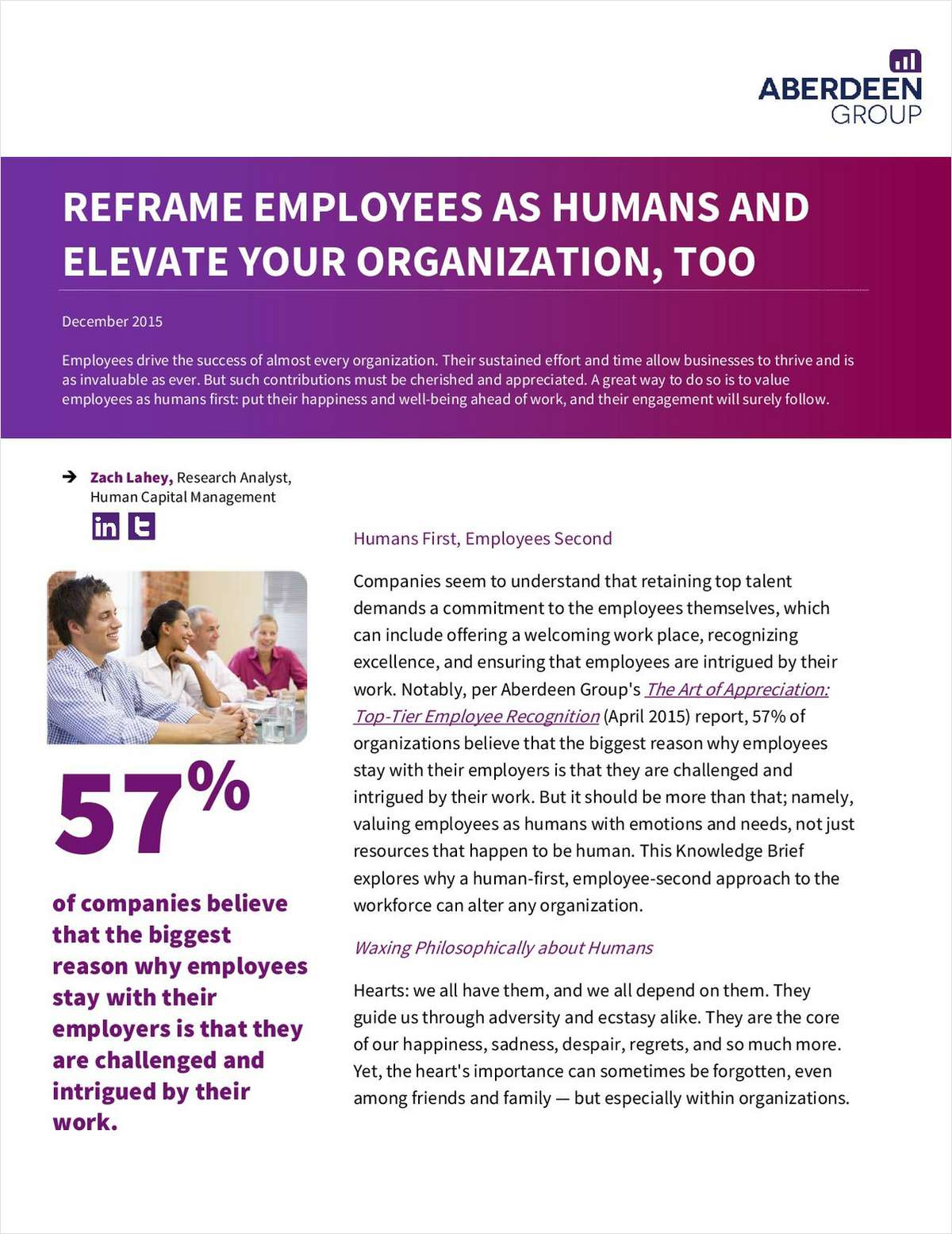 Aberdeen Group: Reframe Employees as Humans And Elevate Your Organization, Too