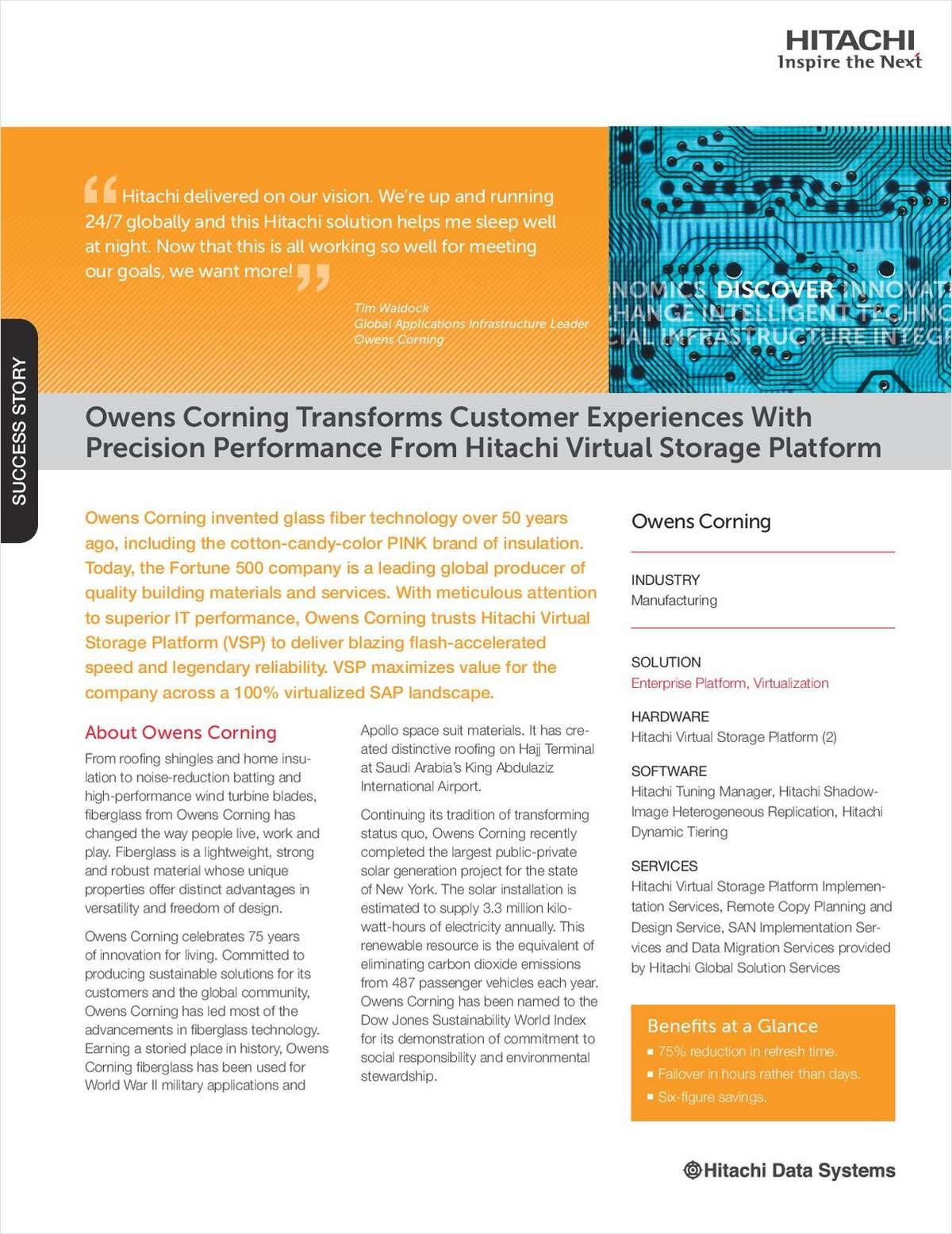 Owens Corning Transforms Customer Experiences With Precision Performance From Hitachi Virtual Storage Platform