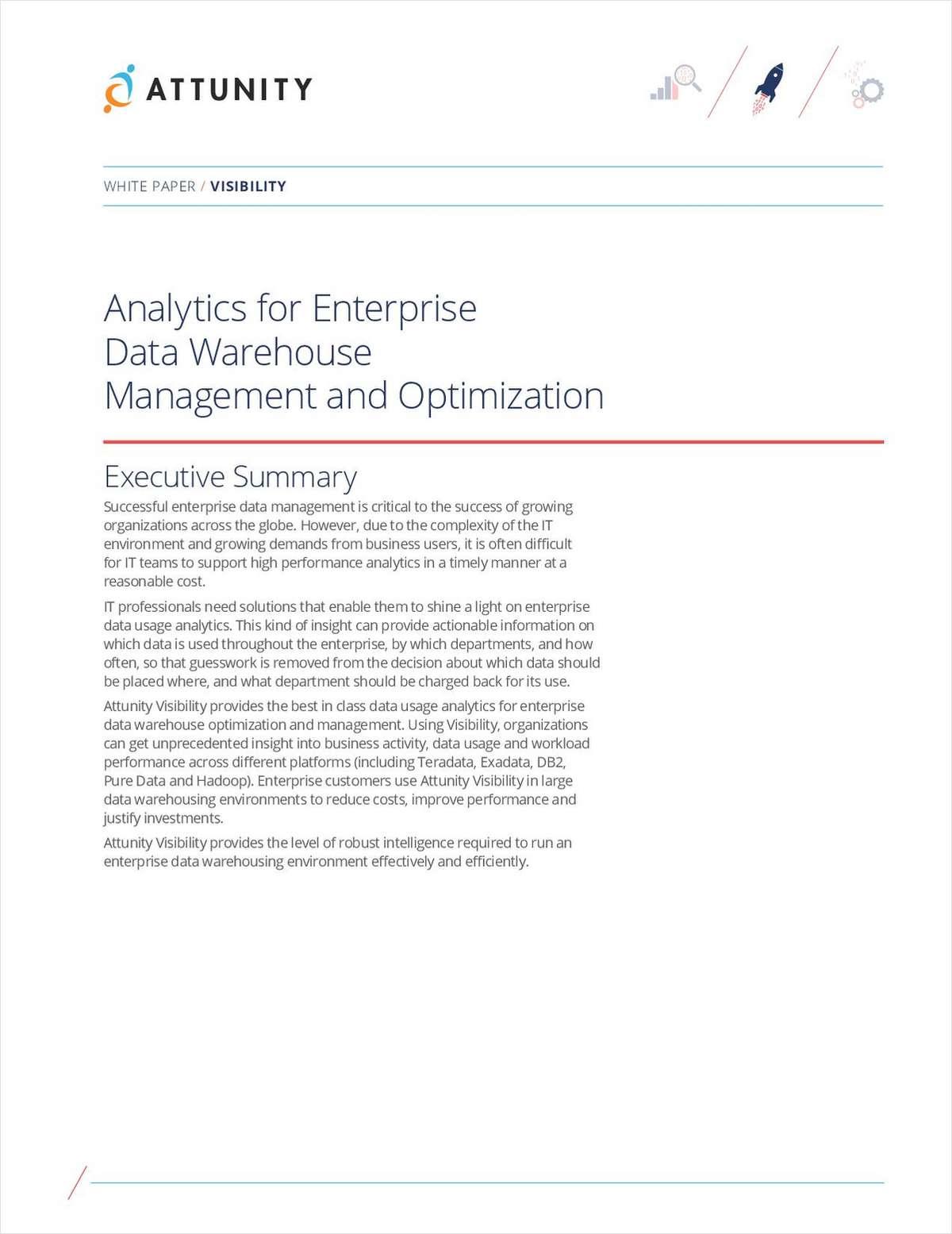 Analytics for Enterprise Data Warehouse Management and Optimization