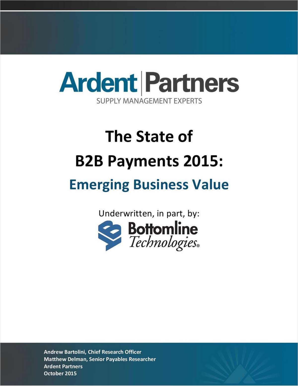 Ardent Partners: The State of B2B Payments 2015