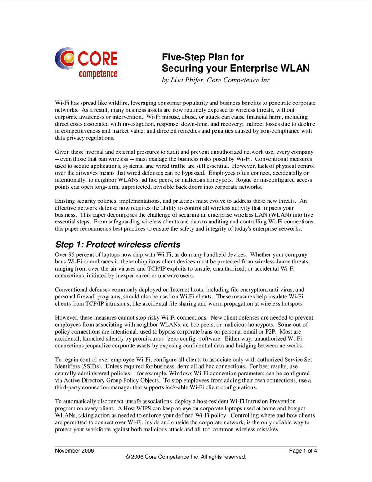 Five-Step Plan for Securing Your Enterprise WLAN
