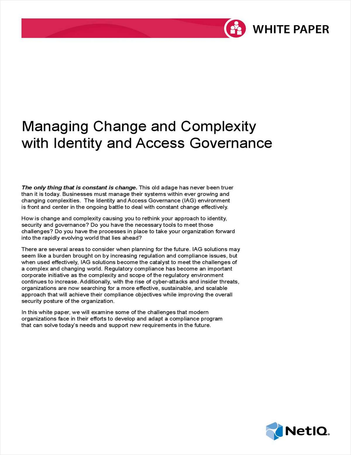 Managing Change and Complexity with Identity and Access Governance