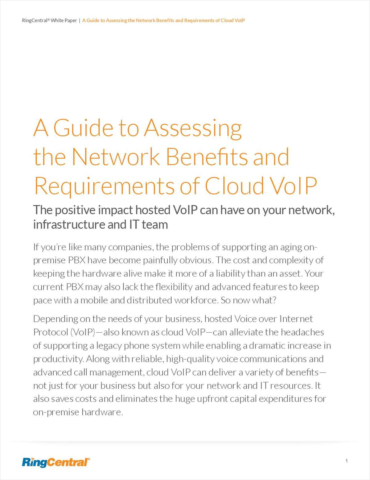 A Guide to Assessing the Network Benefits and Requirements of Cloud VoIP