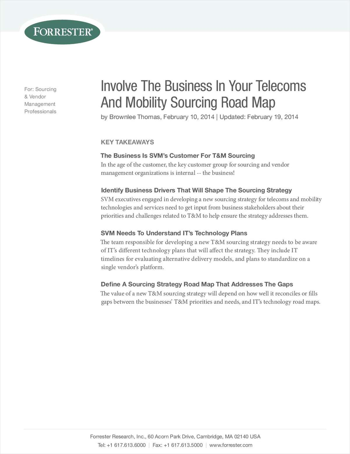 Involve the Business in your Telecoms and Mobility Sourcing Road Map