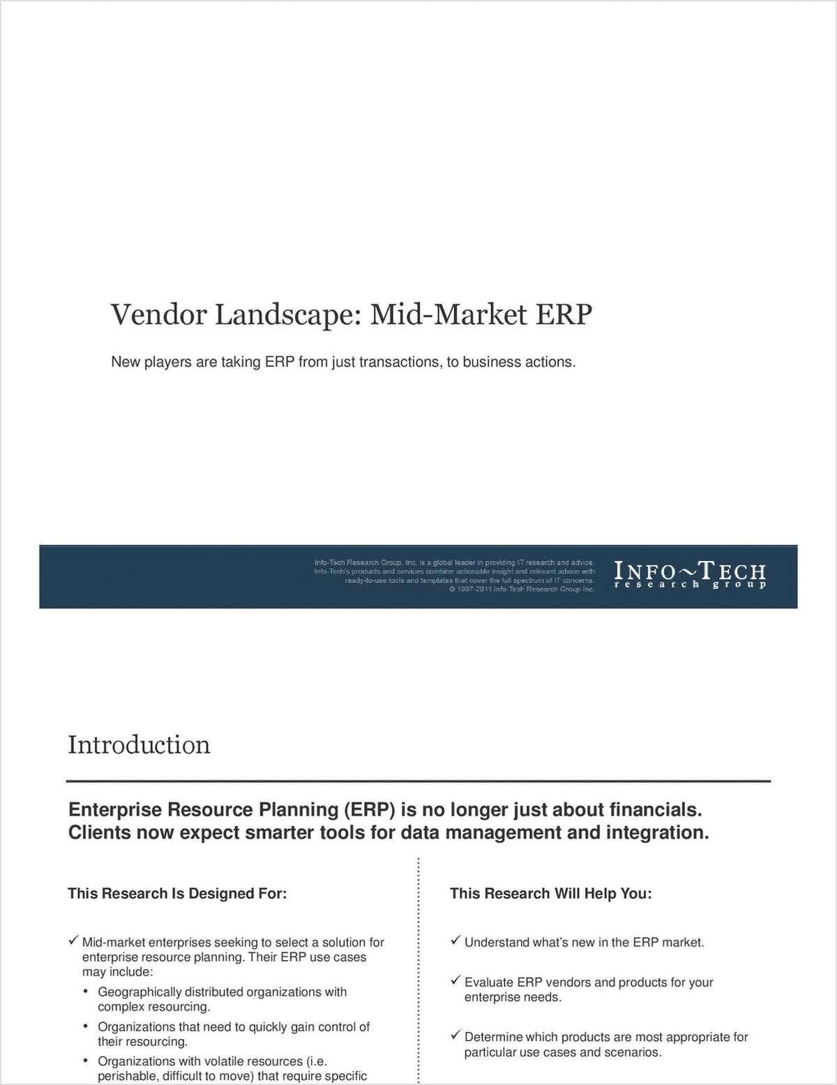 Info-Tech Report: Vendor Landscape for Mid-Market ERP