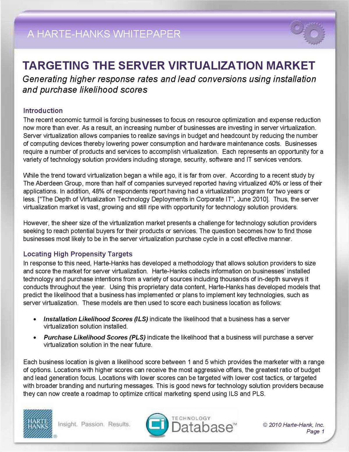Locating Businesses Most Likely to Puchase Server Virtualization Solutions
