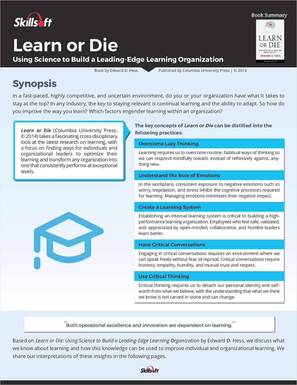 Skillsoft Book Summary: Learn or Die by Edward D. Hess