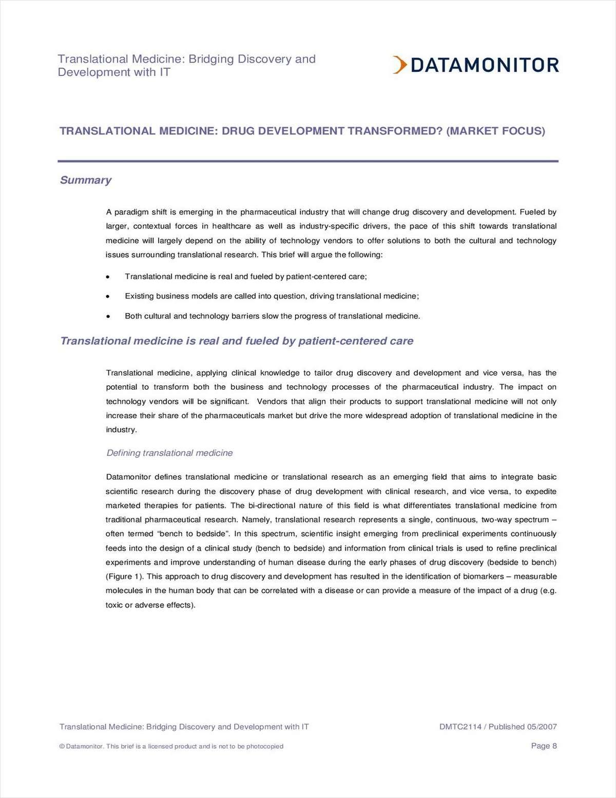 Translational Medicine: Drug Development Transformed?