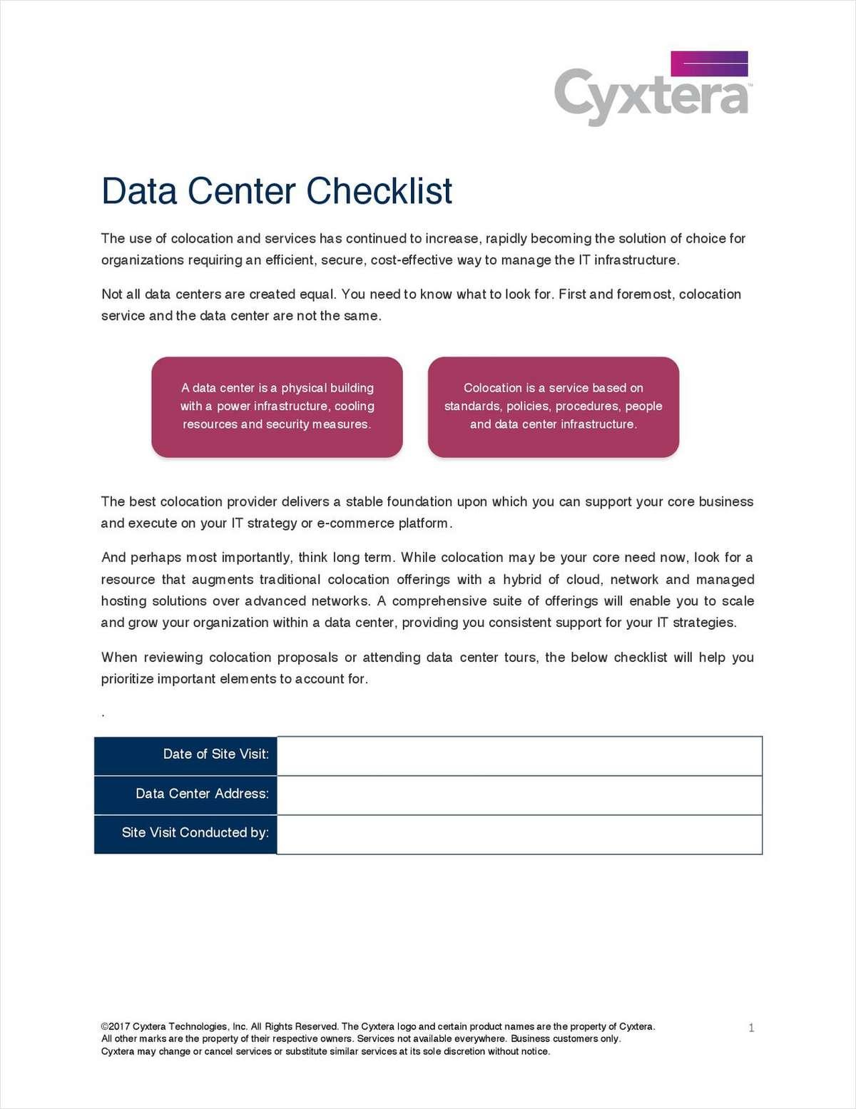 Data Center Service Provider Checklist