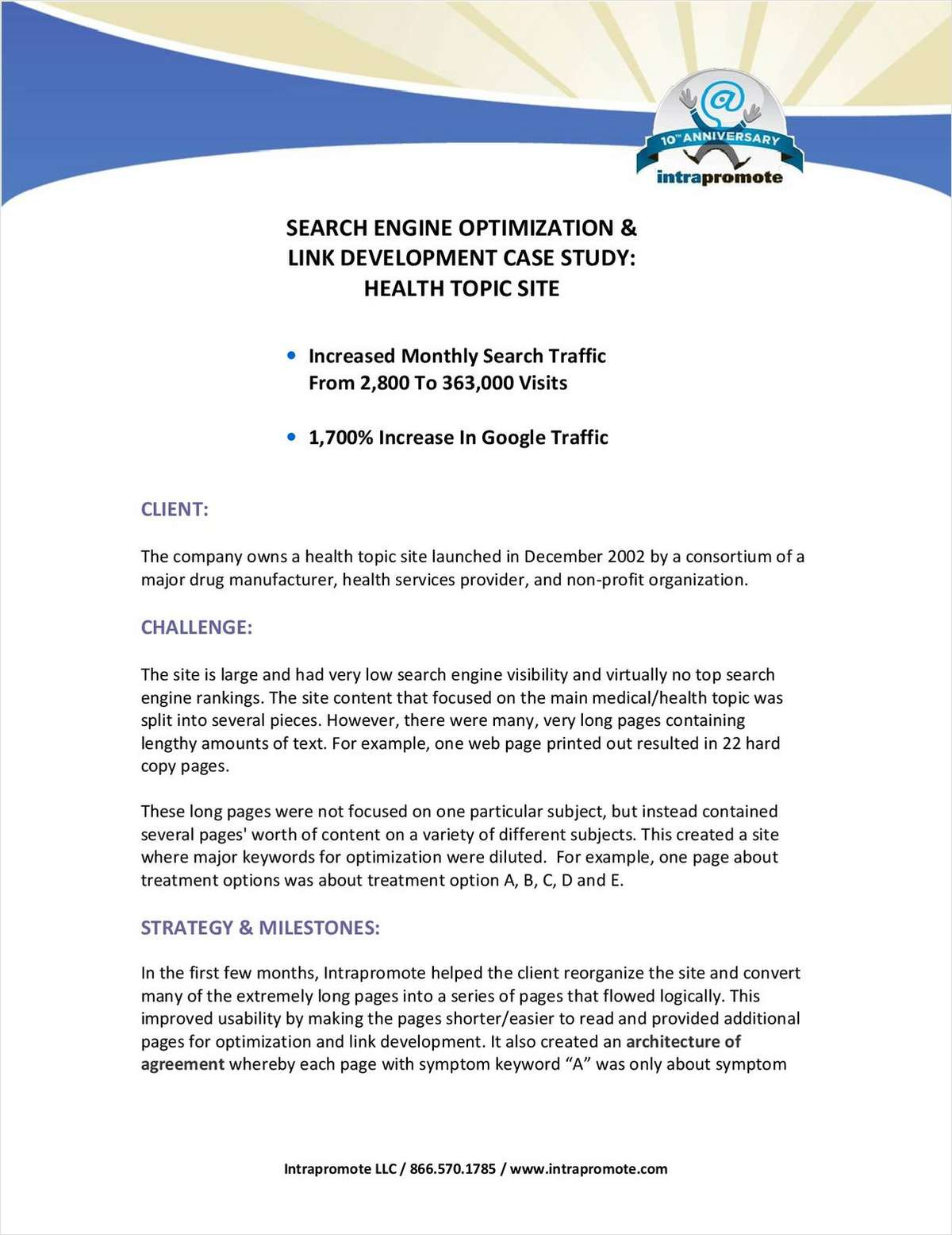 Case Study: Search Engine Optimization and Link Development Success Strategies