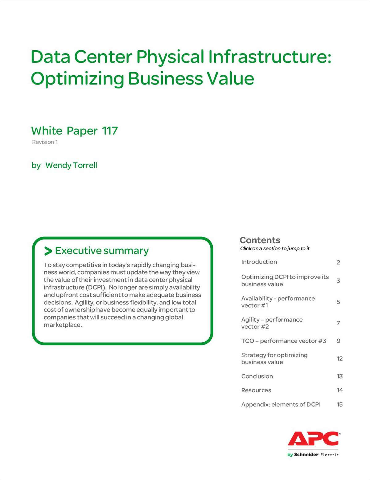 Data Center Physical Infrastructure: Optimizing Business Value