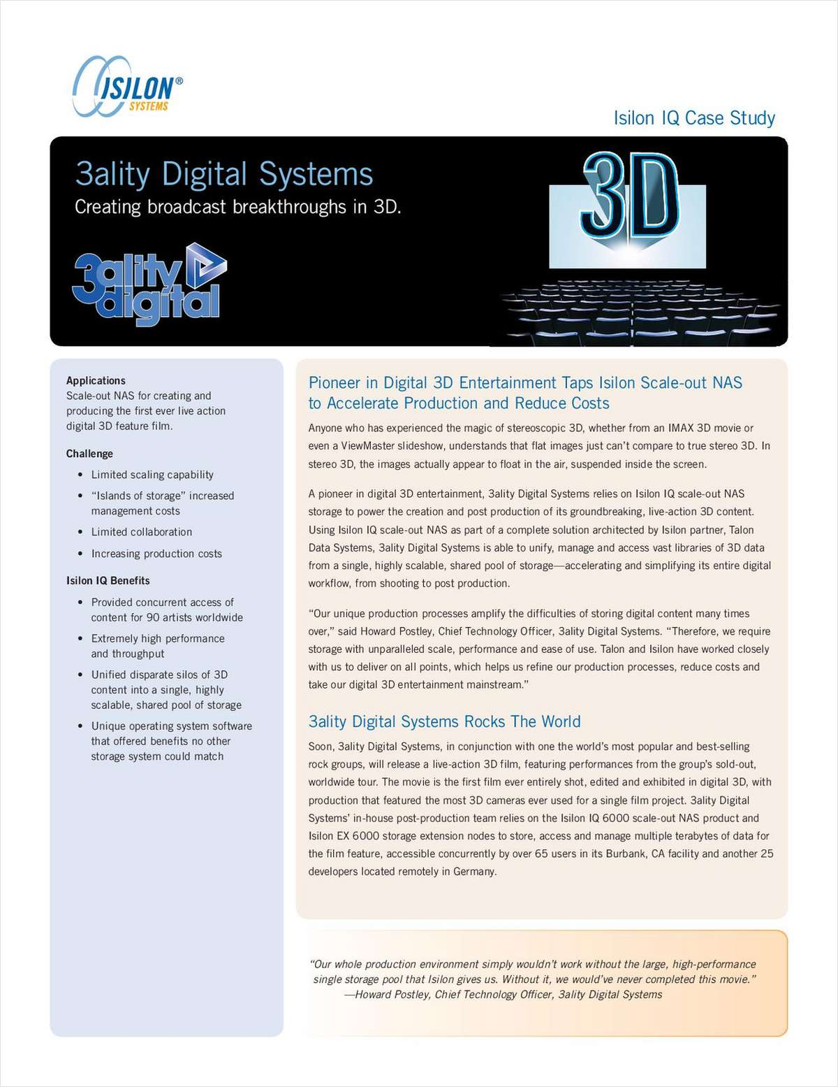 Isilon IQ Case Study: 3ality Digital Systems