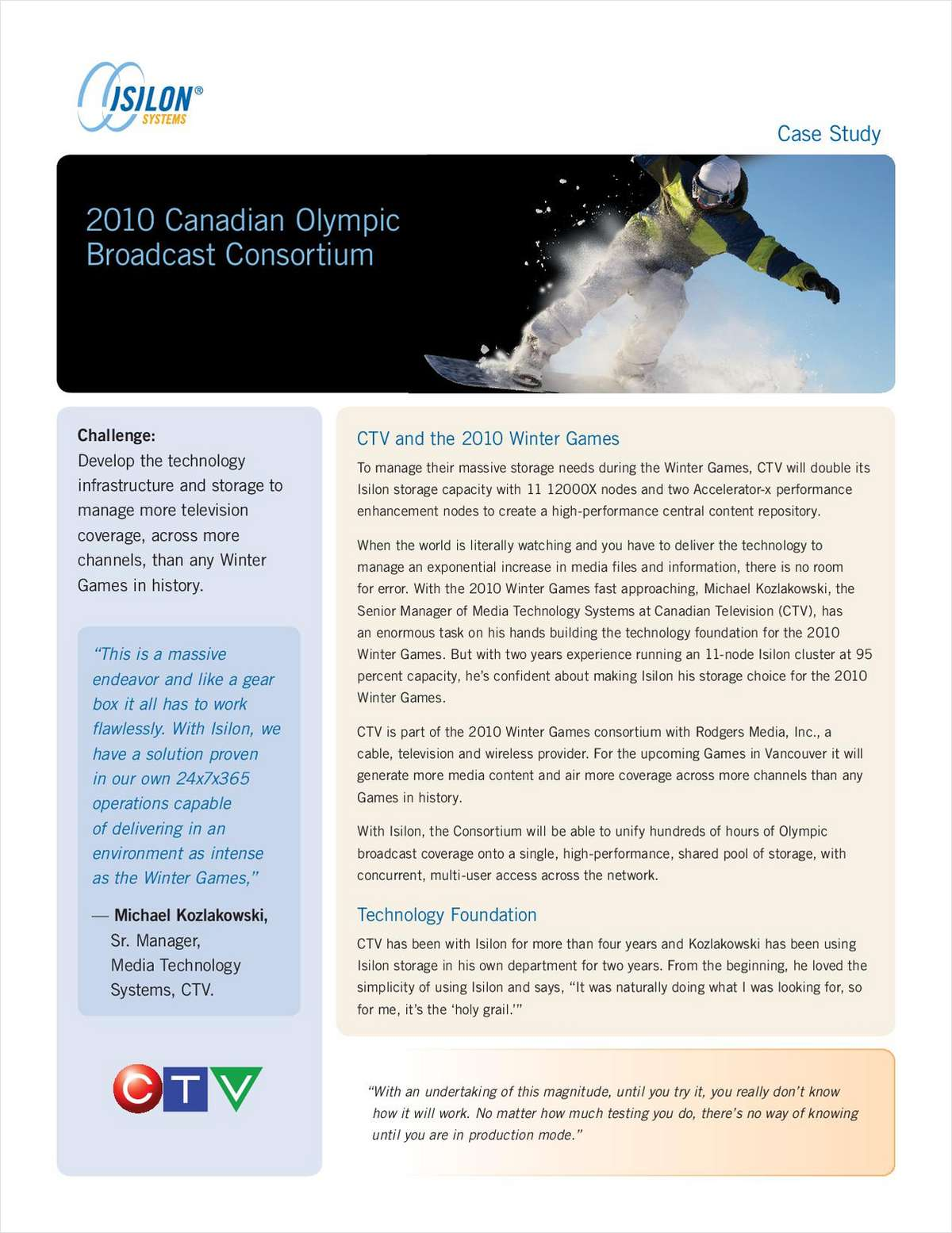 Isilon IQ Case Study: 2010 Canadian Olympic Broadcast Consortium