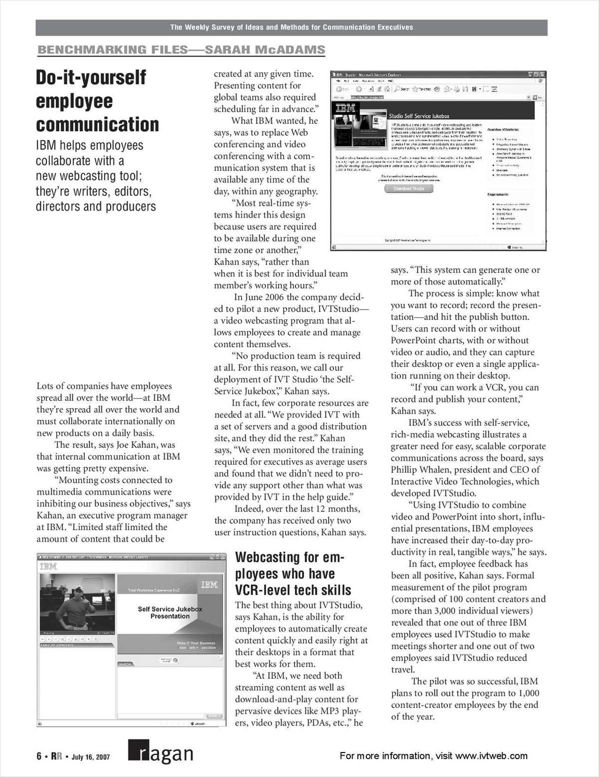 Ragan Report: Do-It-Yourself Video Communication