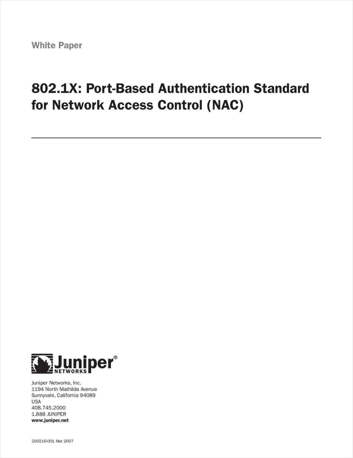 802.1X Authentication Standard for Network Access Control