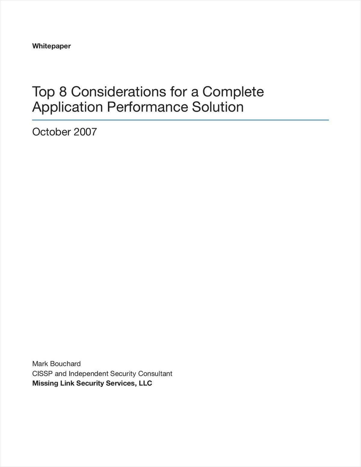 8 Considerations for a Complete Application Performance Solution