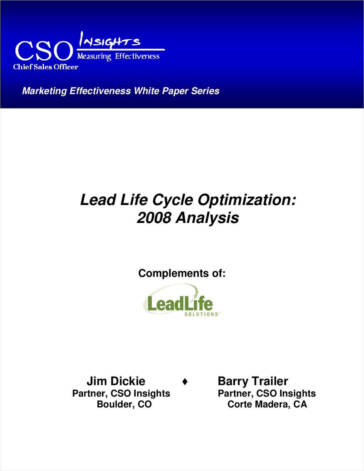 Lead Life Cycle Optimization: 2008 Analysis