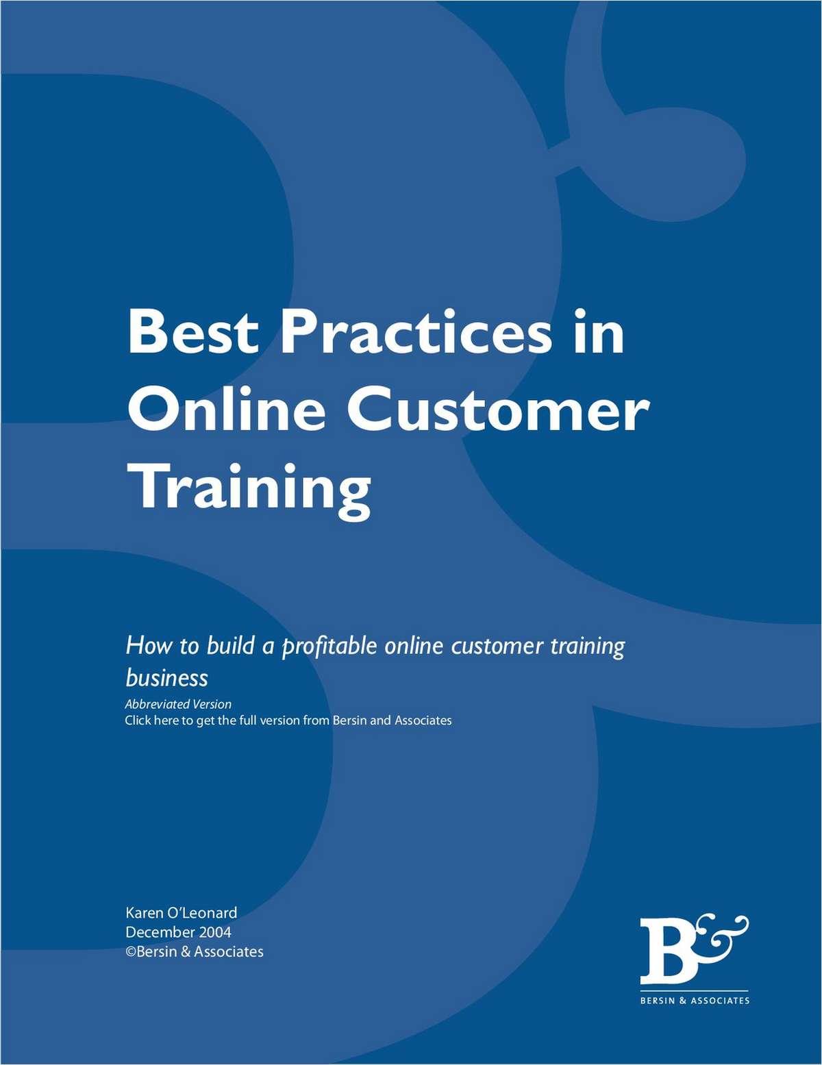 Best Practices in Online Customer Training