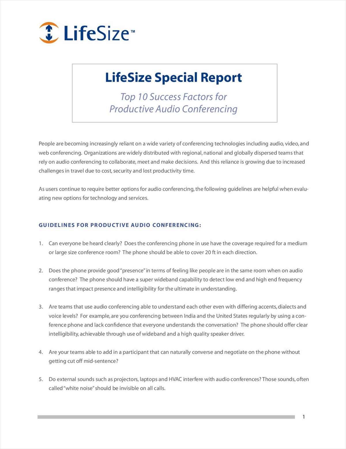 Top 10 Success Factors for Productive Audio Conferencing