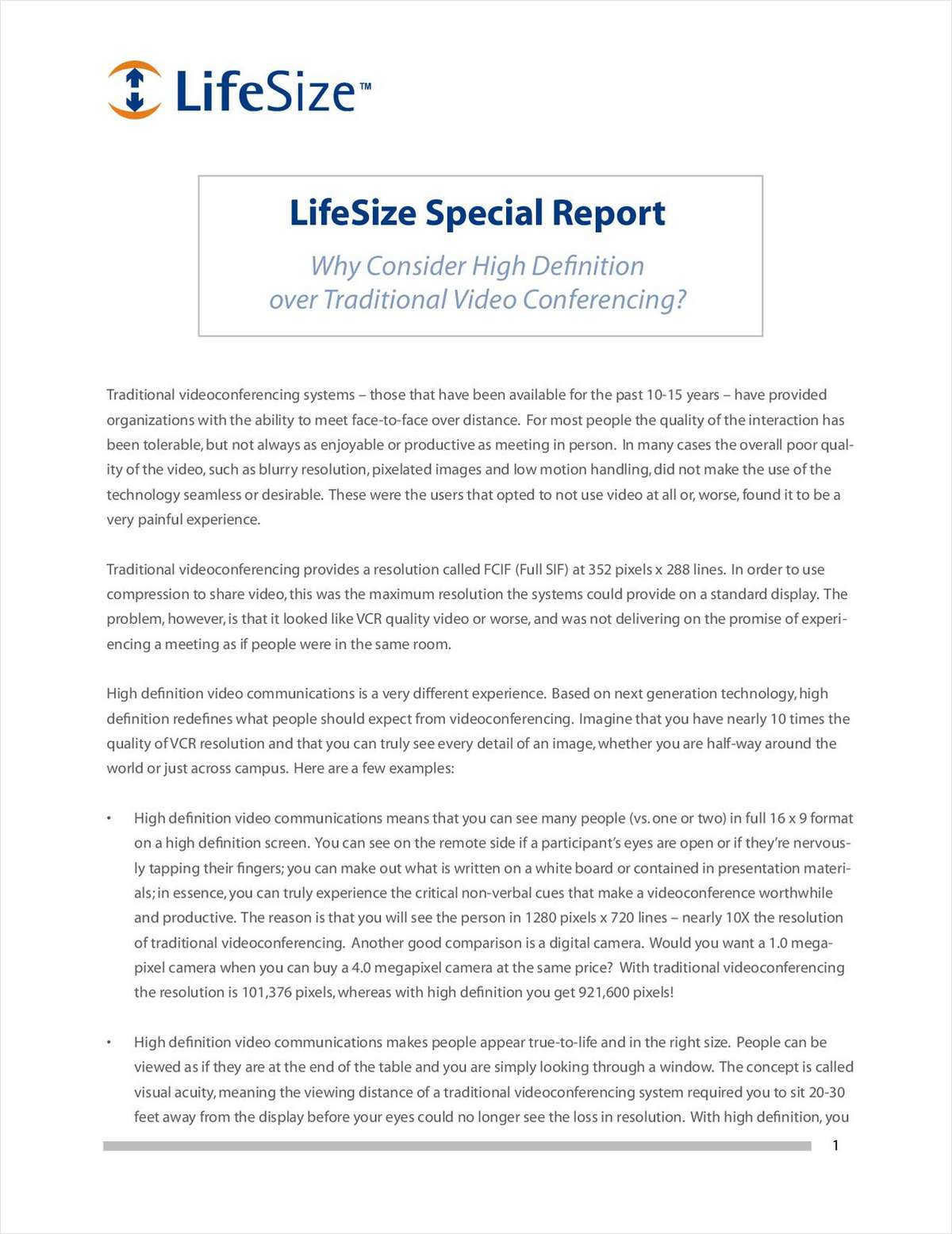 Download Special Report on High Definition And Traditional Video Conferencing