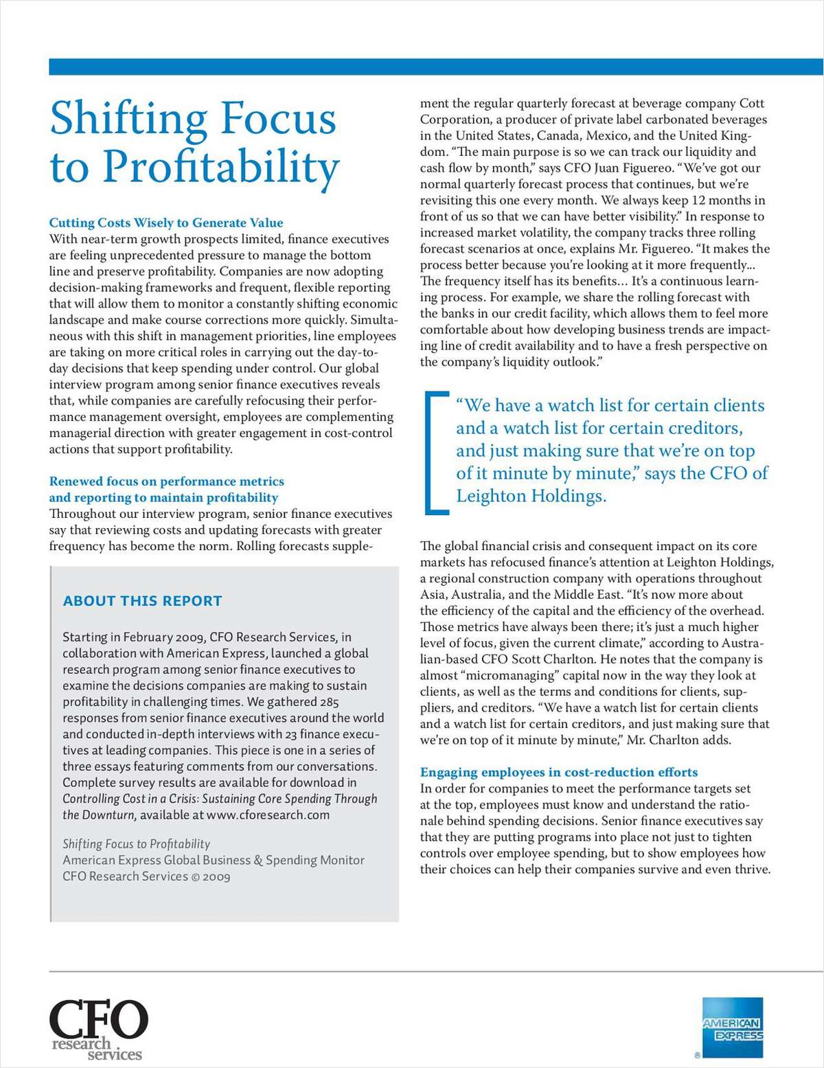 Shifting the Focus for Profitability
