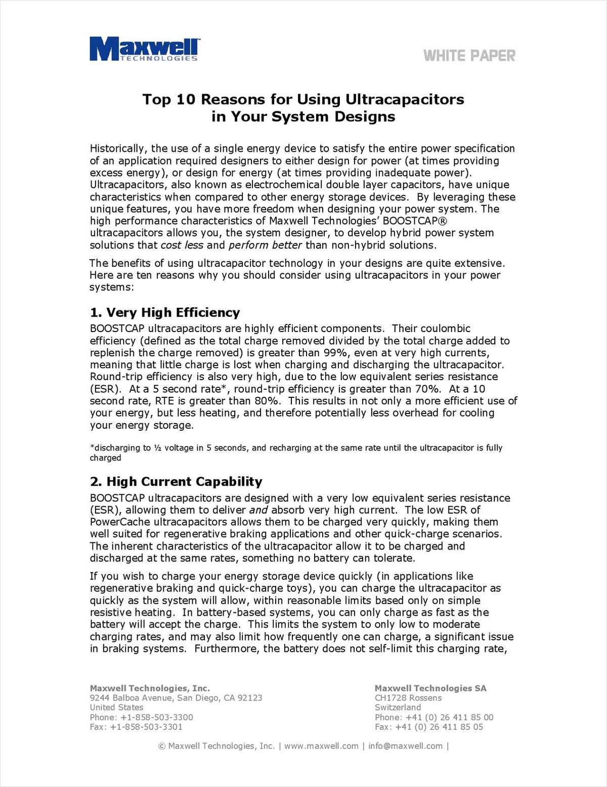 Top 10 Reasons for Using Ultracapacitors in Your System Design