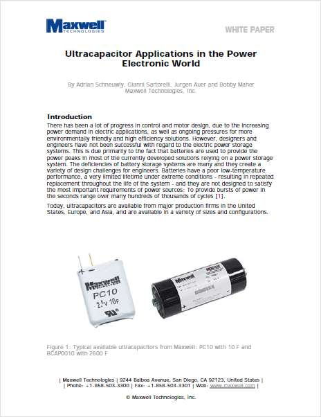 Ultracapacitor Applications in the Power Electronic World
