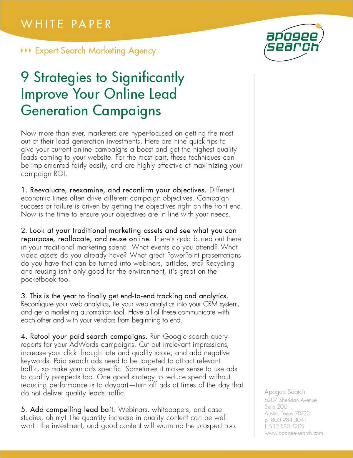 9 Strategies to Significantly Improve Your Online Lead Generation Campaigns