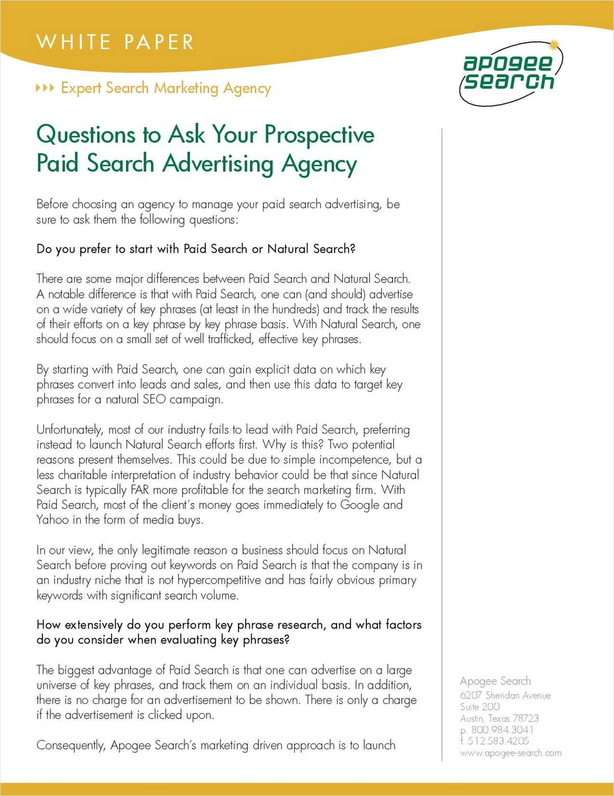 Questions to Ask Your Prospective Paid Search Advertising Agency