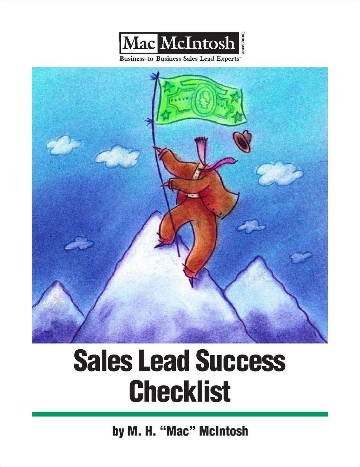 Technology B2B Sales Lead Success Checklist