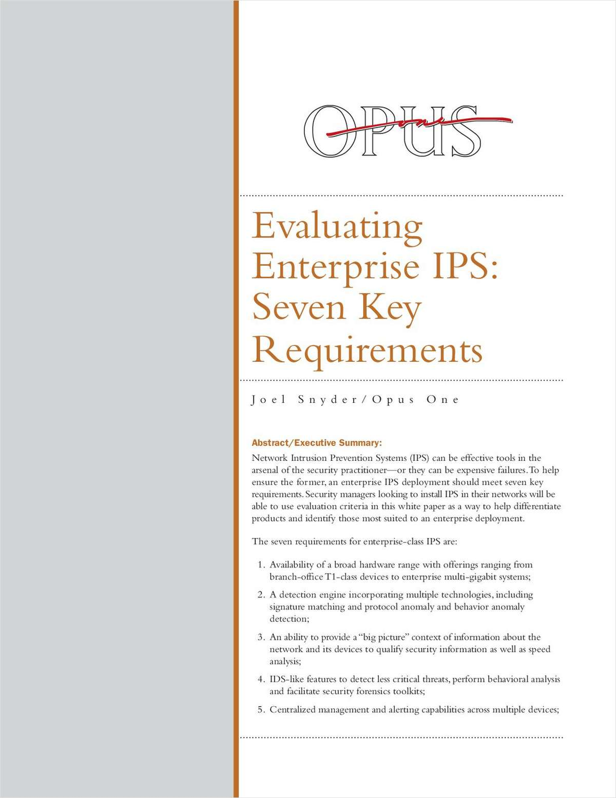 Evaluating Enterprise IPS: Seven Key Requirements