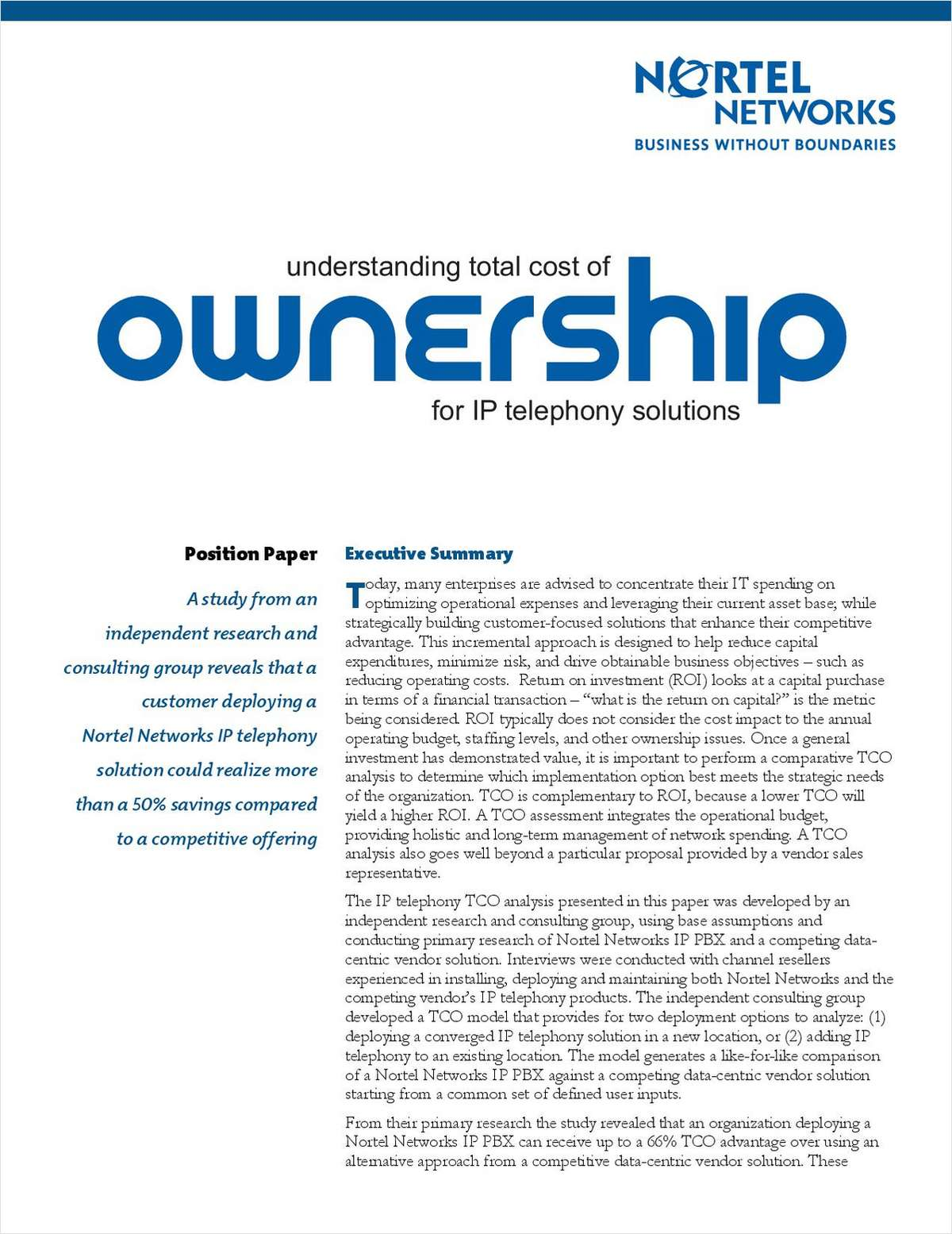 Understanding Total Cost of Ownership for IP Telephony Solutions