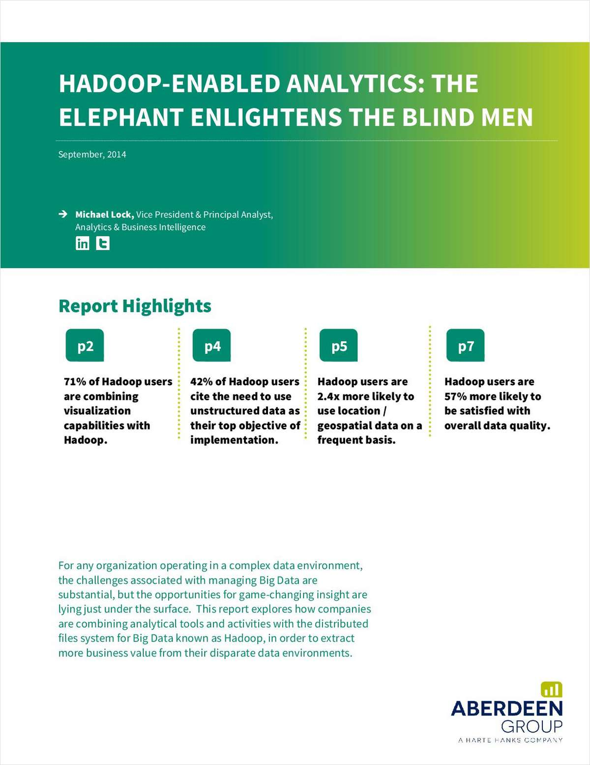 Hadoop-Enabled Analytics: The Elephant Enlightens the Blind Men
