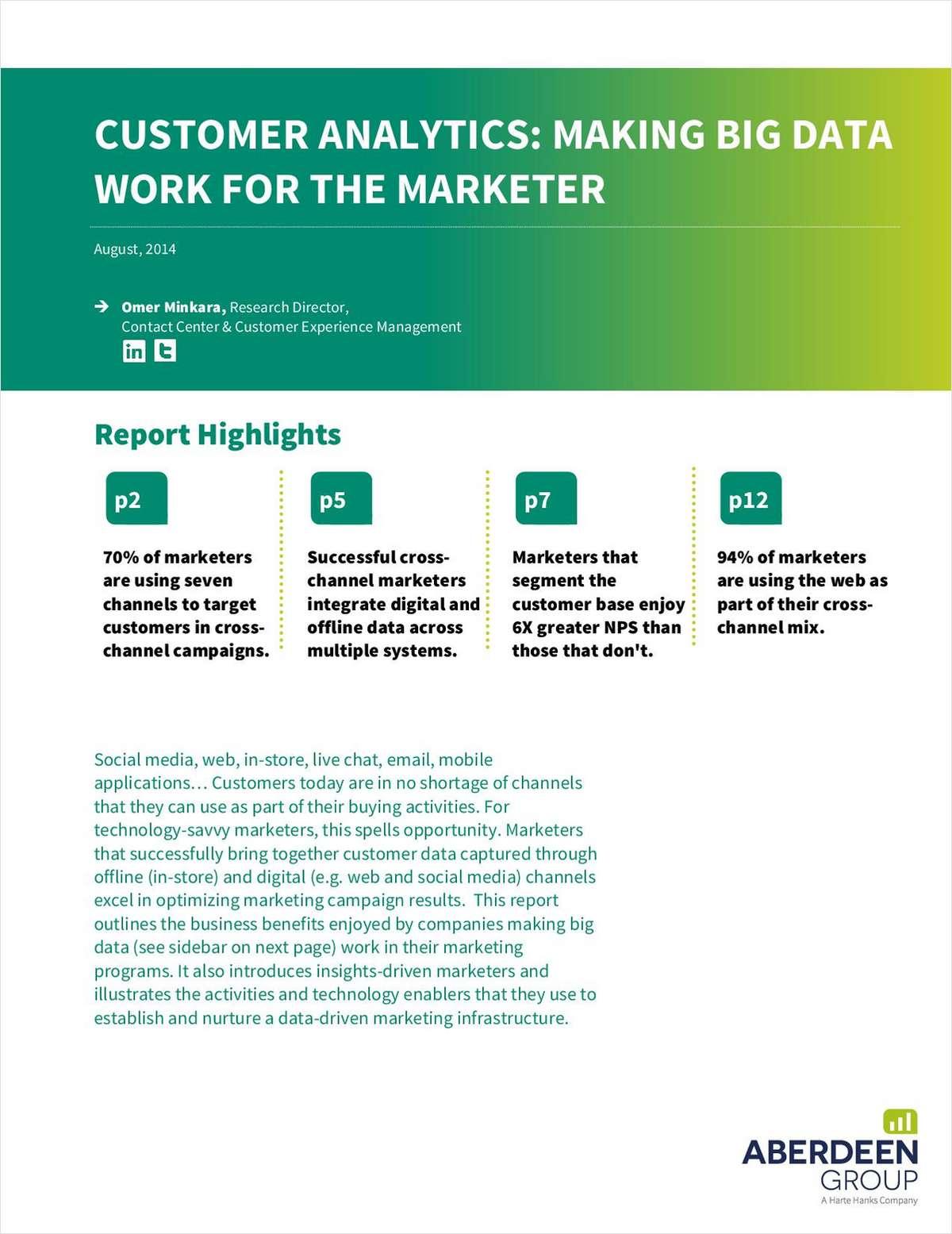 Customer Analytics: Making Big Data Work for the Marketer