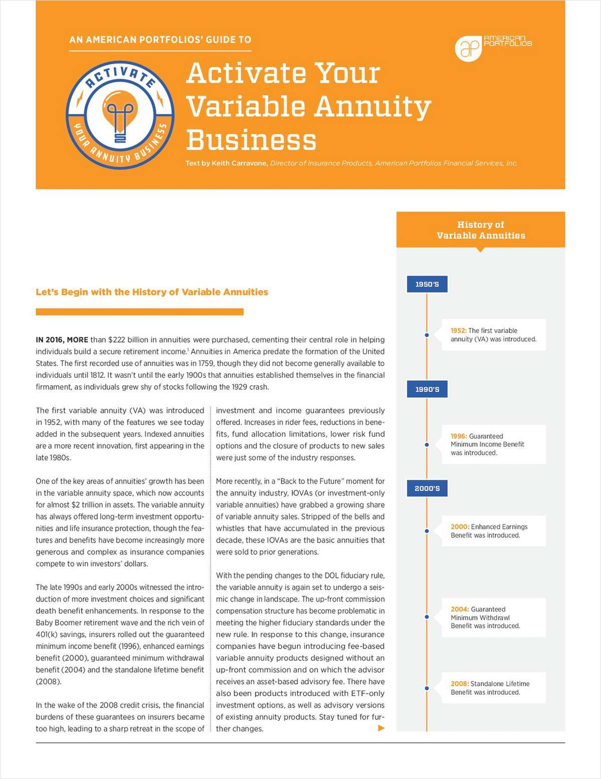 Activate your variable annuity business free american portfolios white paper