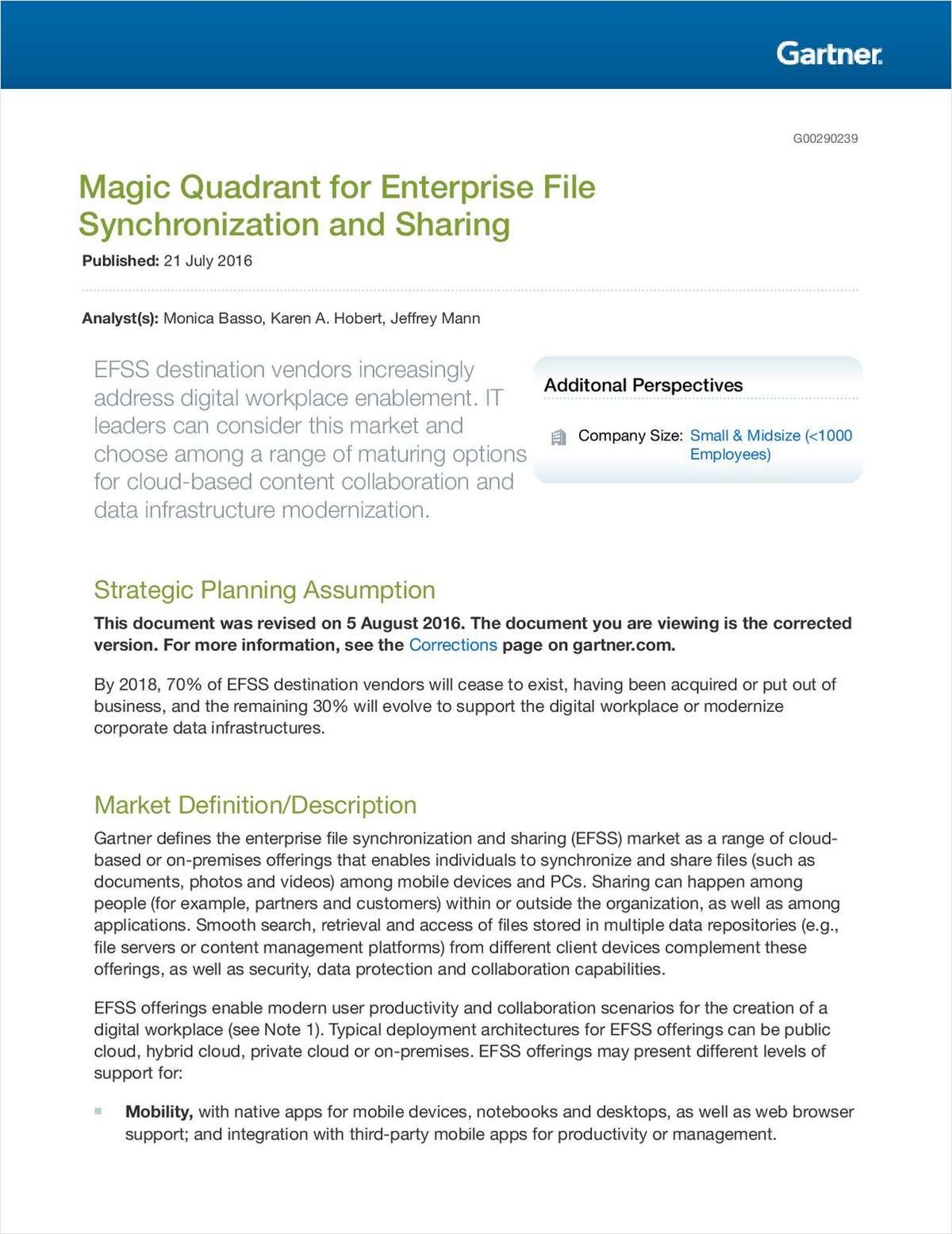 Gartner Magic Quadrant for Enterprise File Synchronization and Sharing