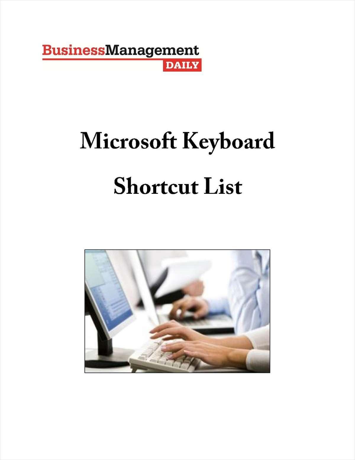 Microsoft Keyboard Shortcut List