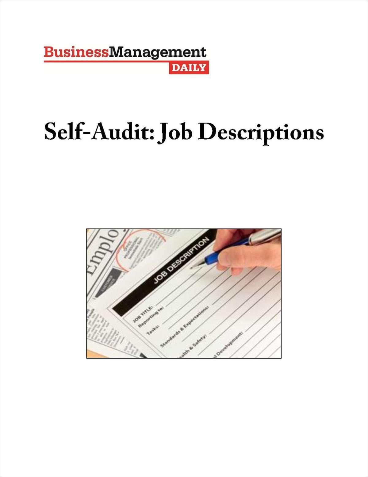 Self-Audit: Job Descriptions