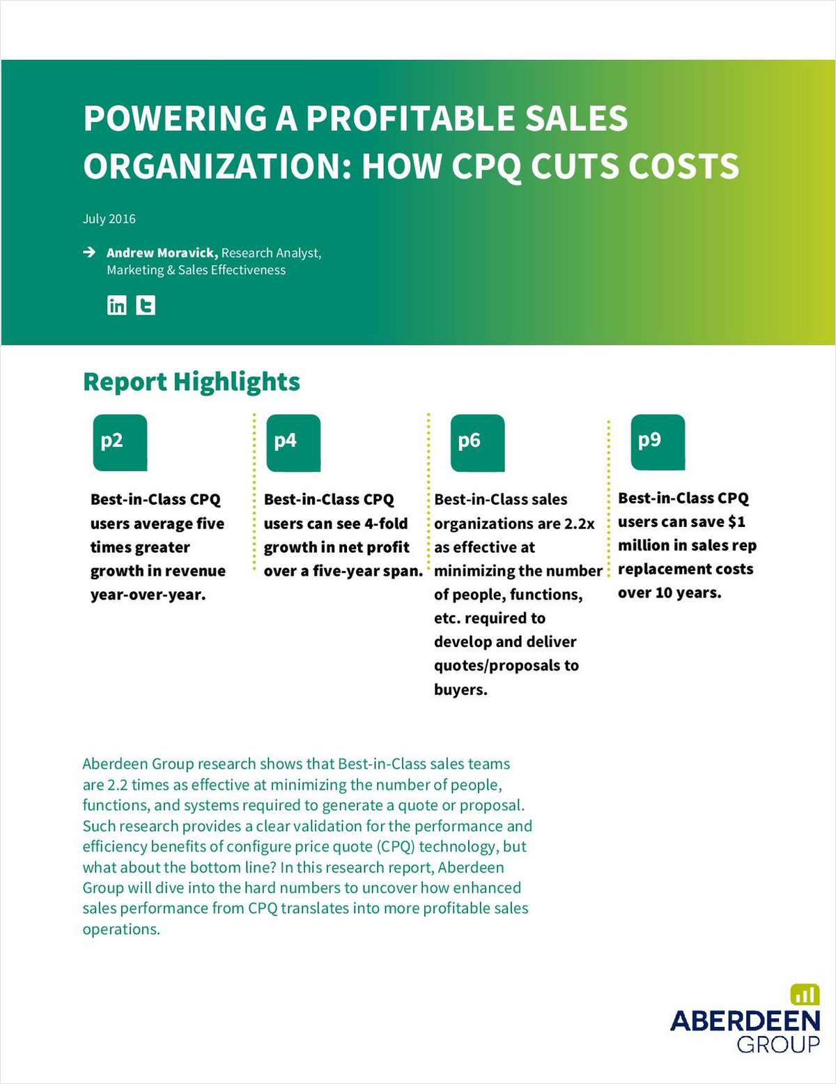Aberdeen Report: Powering a Profitable Sales Organization: How CPQ Cuts Costs