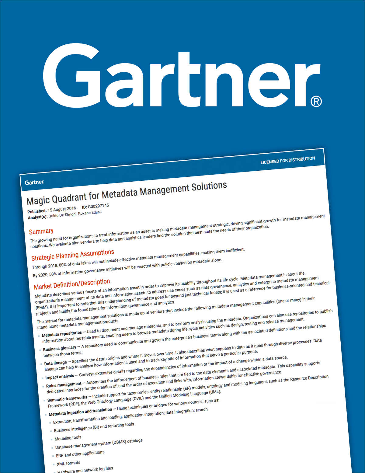 2016 Gartner Magic Quadrant for Metadata Management Solutions