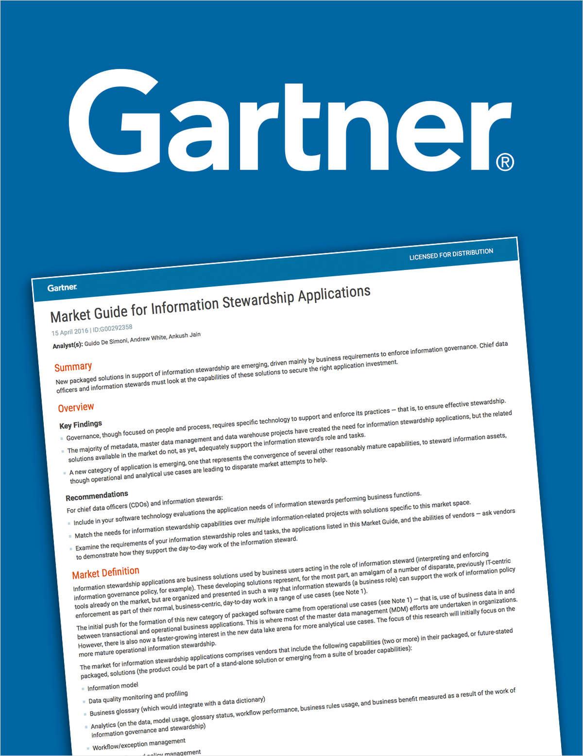 Gartner Market Guide for Information Stewardship Applications