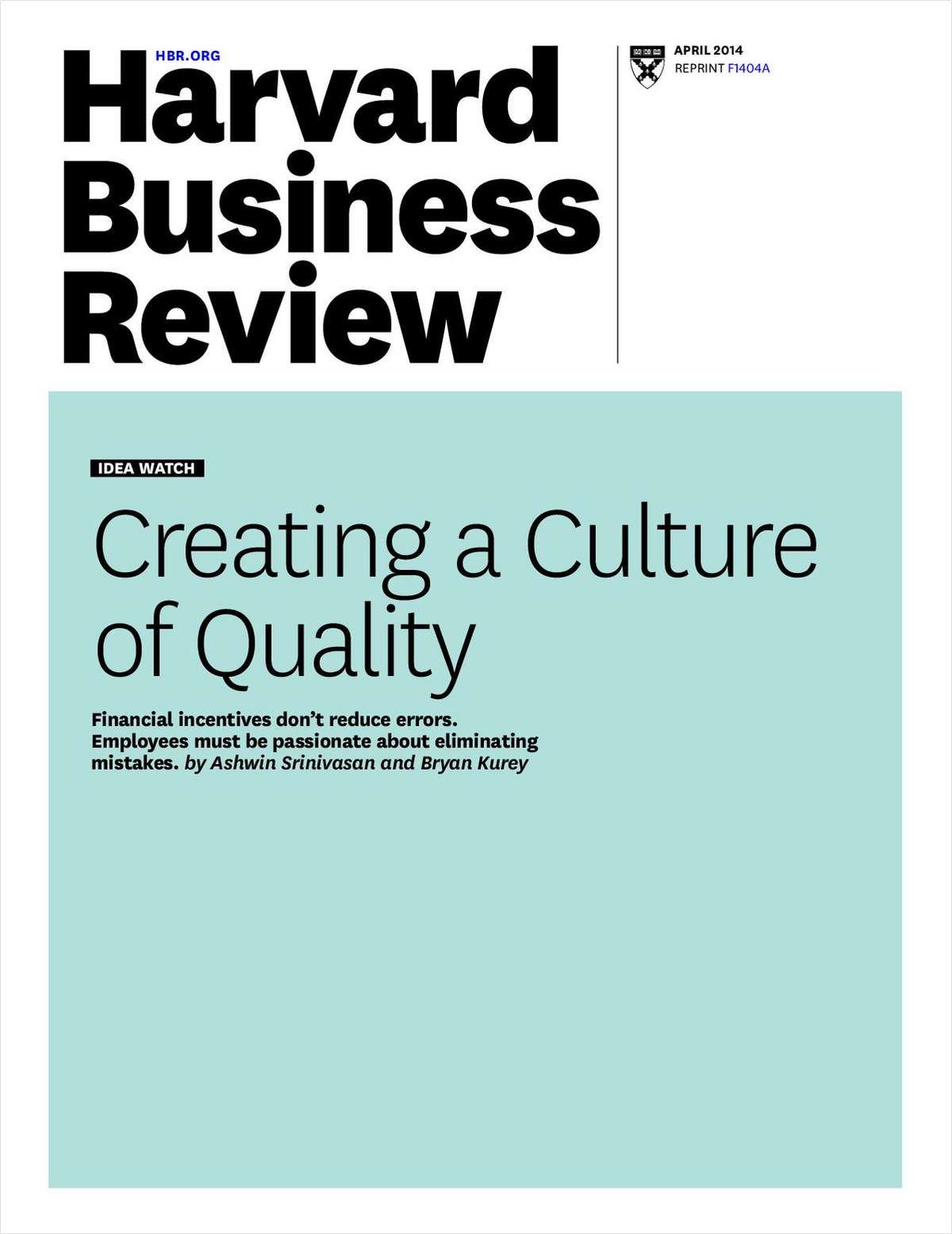 Harvard Business Review: Creating a Culture of Quality